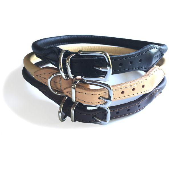 Hundehalsband Rund braun, beige, schwarz